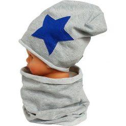 Czapka bawełniana z kominkiem W-085C szara r. 44-48. Szare czapeczki niemowlęce Proman, z bawełny. Za 44,27 zł.