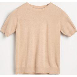 Swetry klasyczne damskie: Sweter z krótkimi rękawami - Beżowy