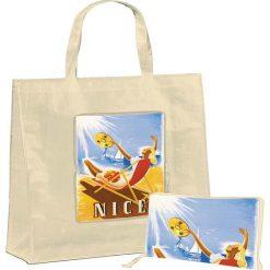 """Torba """"Nice"""" w kolorze beżowym na zakupy - 46 x 40 x 19 cm. Brązowe torebki klasyczne damskie Éditions Clouet, z nadrukiem, z tworzywa sztucznego, z nadrukiem. W wyprzedaży za 24,95 zł."""