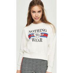 Bluzy damskie: Bluza z nadrukiem – Biały