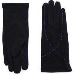 Rękawiczki damskie: Art of Polo Rękawiczki damskie Zamszowa sinusoida czarne (rk16563)