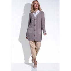 Swetry damskie: Klasyczny Długi Mocca Kardigan w Warkocze