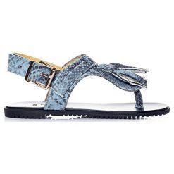 Sandały damskie: Skórzane sandały w kolorze niebieskim