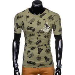 T-SHIRT MĘSKI Z NADRUKIEM S974 - KHAKI. Czarne t-shirty męskie z nadrukiem marki Ombre Clothing, m, z bawełny, z kapturem. Za 19,99 zł.