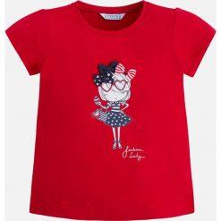 Mayoral - Top dziecięcy 98-134 cm. Czerwone bluzki dziewczęce Mayoral, z nadrukiem, z bawełny, z okrągłym kołnierzem, z krótkim rękawem. Za 54,90 zł.