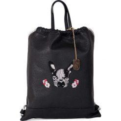 Plecaki damskie: Skórzany plecak w kolorze czarnym - 35 x 40 x 5 cm