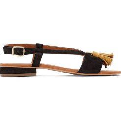Rzymianki damskie: Skórzane płaskie sandały, na szeroką stopę, 38-45