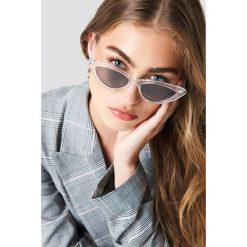 Okulary przeciwsłoneczne damskie aviatory: NA-KD Accessories Transparentne okulary przeciwsłoneczne kocie oczy - Black