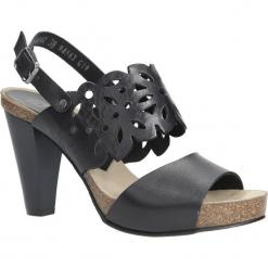 Czarne sandały skórzane ażurowe na słupku Nessi 18342. Czarne sandały damskie na słupku marki Nessi, z materiału. Za 218,99 zł.