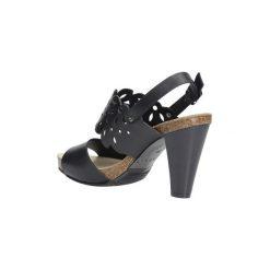 Sandały Nessi  Czarne sandały skórzane ażurowe na słupku  18342. Czarne sandały damskie na słupku marki Nessi, w ażurowe wzory. Za 218,99 zł.
