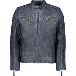 Kurtki męskie bomber: Skórzana kurtka w kolorze niebieskim