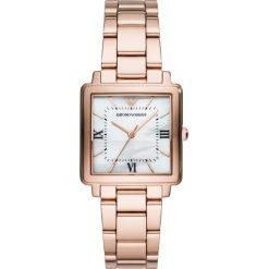 Zegarek EMPORIO ARMANI - Modern Square AR11177 Rose Gold/Rose Gold. Szare zegarki damskie marki Emporio Armani, l, z nadrukiem, z bawełny, z okrągłym kołnierzem. Za 1499,00 zł.