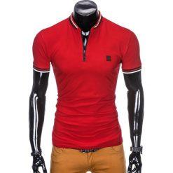 KOSZULKA MĘSKA POLO BEZ NADRUKU S916 - CZERWONA. Czerwone koszulki polo Ombre Clothing, m, z nadrukiem. Za 45,00 zł.