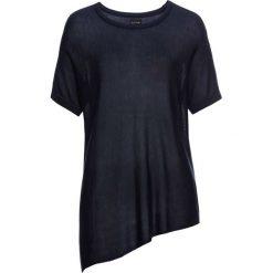 Swetry klasyczne damskie: Sweter z krótkim rękawem i asymetrycznym dołem bonprix ciemnoniebieski