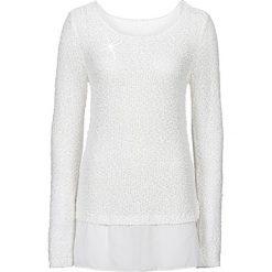 Swetry klasyczne damskie: Sweter z cekinami bonprix biel wełny
