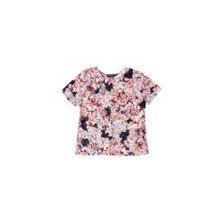 Bluzki asymetryczne: bluzka damska klasyczna, taliowana w kwiaty