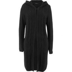 Długi sweter rozpinany z kapturem bonprix czarny. Białe kardigany damskie marki Reserved, l. Za 89,99 zł.