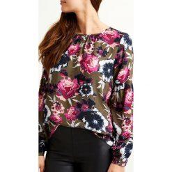 Bluzki damskie: Wzorzysta bluzka, okrągły dekolt, długi rękaw