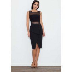 Odzież damska: Czarna Spódnica Ołówkowa Midi z Kopertowym Założeniem
