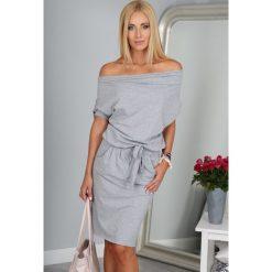 Sukienki: Sukienka Jasnoszara z wiązaniem 9978