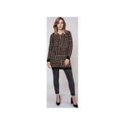 Długi sweter, SWE161 czarny/mocca MKM. Brązowe swetry klasyczne damskie Mkm swetry, l, z dzianiny. Za 148,00 zł.