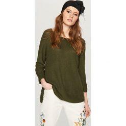 Swetry damskie: Asymetryczny sweter - Khaki