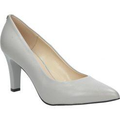 Szare czółenka skórzane na słupku Casu 7060/833. Szare buty ślubne damskie Casu, na słupku. Za 248,99 zł.