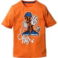 T-shirty chłopięce: Shirt z nadrukiem bonprix pomarańczowy z nadrukiem
