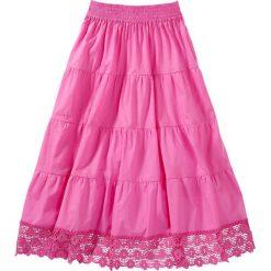Spódniczka z koronką bonprix różowy. Czarne spódniczki dziewczęce marki bonprix, w paski, z dresówki. Za 37,99 zł.