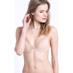 Calvin Klein Underwear - Biustonosz Bare Underwire. Szare biustonosze bardotka Calvin Klein Underwear, z haftami, z elastanu. Za 159,90 zł.