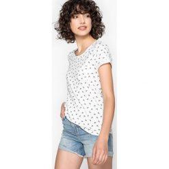 Koszulka z okrągłym wycięciem szyi w graficzny wzór. Szare bluzki z odkrytymi ramionami marki La Redoute Collections, m, z bawełny, z kapturem. Za 64,64 zł.