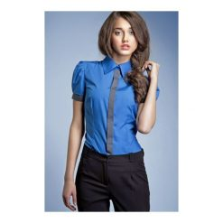 Koszula Black & White k33 niebieska. Białe koszule damskie marki NIFE, eleganckie. Za 73,00 zł.