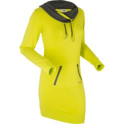 Długie sukienki: Sukienka dresowa, długi rękaw bonprix zielona limonka