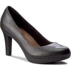 Półbuty CLARKS - Adriel Viola 261293594 Black Leather. Czarne creepersy damskie Clarks, z materiału, na obcasie. Za 329,00 zł.