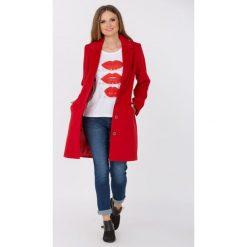 Płaszcze damskie pastelowe: Wełniany, prosty płaszcz