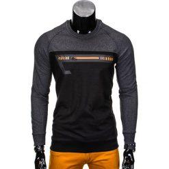 BLUZA MĘSKA BEZ KAPTURA Z NADRUKIEM B688 - GRAFIT/CZARNA. Czarne bejsbolówki męskie Ombre Clothing, m, z nadrukiem, z bawełny, bez kaptura. Za 39,00 zł.