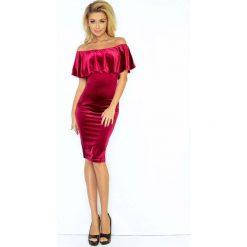 Burgundowa Sukienka Ołówkowa z Hiszpańskim Dekoltem. Czerwone sukienki hiszpanki Molly.pl, na imprezę, l, z tkaniny, z falbankami, dopasowane. Za 145,90 zł.