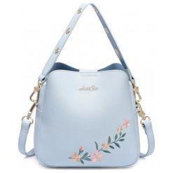 Kuferki damskie: Niebieski kuferek kwiat