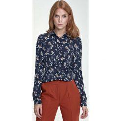 Odzież damska: Klasyczna Bluzka Koszulowa Wzór Kwiaty/Granat