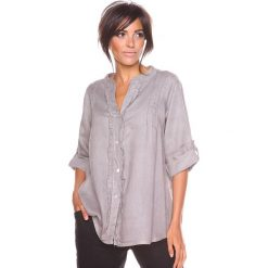 """Bluzki asymetryczne: Lniana bluzka """"Prune"""" w kolorze szarobrązowym"""