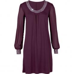 Sukienka z aplikacją ze sztrasów bonprix czarny bez. Fioletowe sukienki balowe bonprix, z aplikacjami, z dżerseju, z okrągłym kołnierzem. Za 139,99 zł.