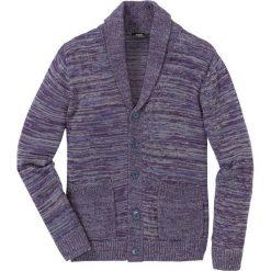 Sweter rozpinany melanżowy z szalowym kołnierzem Regular Fit bonprix szaro-ciemnoniebiesko-jeżynowy melanż. Szare kardigany męskie marki bonprix, l, melanż. Za 109,99 zł.