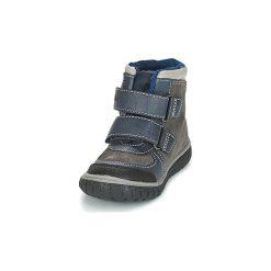 Śniegowce Dziecko Kickers  SITROUILLE. Niebieskie buty zimowe chłopięce marki Kickers, z kauczuku, na sznurówki. Za 216,80 zł.