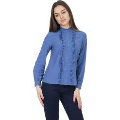 Bluzy rozpinane damskie: Niebieska bluza z długim rękawem oraz falbaną na przodzie  BIALCON