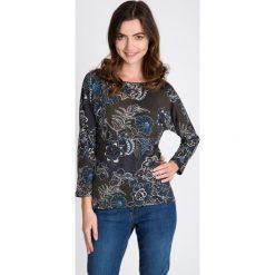 Bluzki damskie: Ciemnozielona bluzka w florystyczny print QUIOSQUE