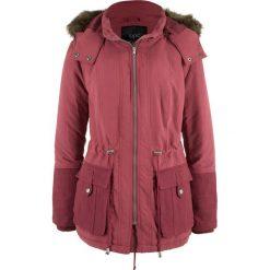 Parki damskie: Krótka kurtka parka z kontrastowym materiałem bonprix bordowy