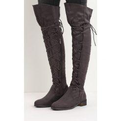 Szare Kozaki Existor. Szare buty zimowe damskie marki Born2be, za kolano, na wysokim obcasie, na płaskiej podeszwie. Za 139,99 zł.