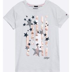 Tommy Hilfiger - Top dziecięcy 122-176 cm. Szare bluzki dziewczęce marki TOMMY HILFIGER, z nadrukiem, z bawełny, z okrągłym kołnierzem. W wyprzedaży za 99,90 zł.