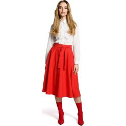 SABRIA Spódnica rozkloszowana z paskiem  - czerwona. Czerwone spódniczki rozkloszowane Moe, w paski. Za 119,00 zł.