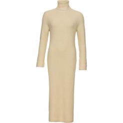 Sukienka dzianinowa z golfem bonprix beżowy. Brązowe sukienki dzianinowe marki bonprix, z golfem. Za 109,99 zł.